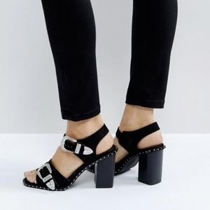 ASOS 7 Texas Nights Western Sandal Black Buckle